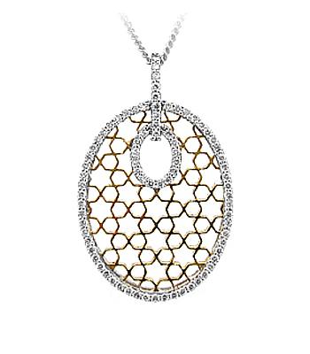 18k Yellow & White Gold Brilliant Cut Diamond Honeycomb Pendant On Chain
