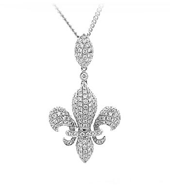 18k White Gold Brilliant Cut Diamond Fleur De Lys Pendant On Chain