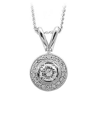 18k White Gold Brilliant Cut Diamond Cluster Pendant On Chain
