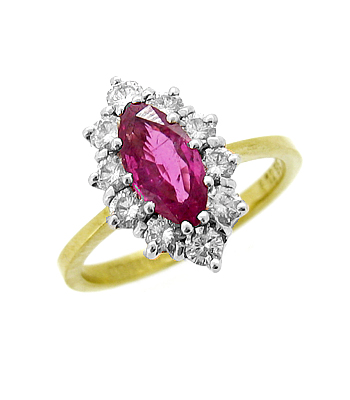 18k Yellow & White Gold Marquise Ruby & Brilliant Cut Diamond Cluster Ring