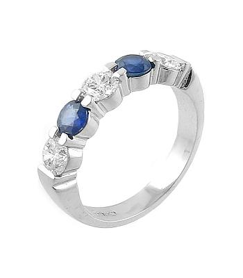 18k White Gold 5 Stone Round Sapphire & Brilliant Cut Diamond Ring