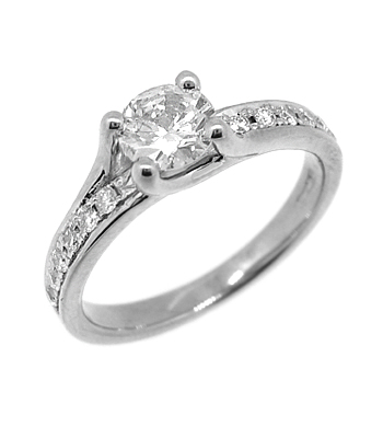 0.37cts Brilliant Cut Diamonds In A Claw And Pave Setting