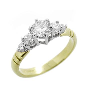 18k Yellow & White Gold 5 Stone Brilliant Cut Diamond Ring