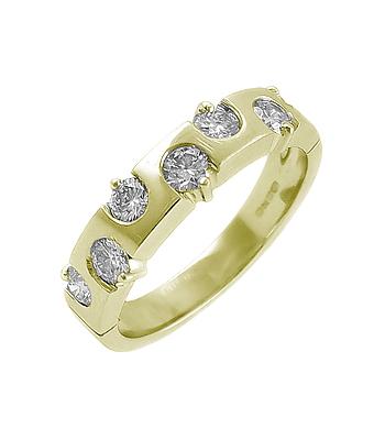 18k Yellow Gold 7 Stone Brilliant Cut Diamond Ring