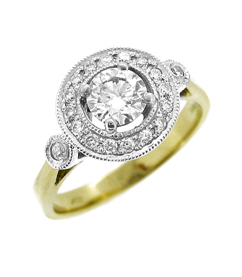 18k Yellow & White Gold Brilliant Cut Diamond Cluster Ring
