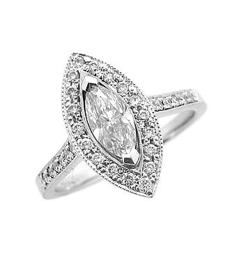 18k White Gold Marquise Diamond Cluster Ring