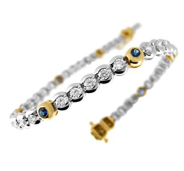 18k Yellow And White Gold Round Sapphire & Diamond Rubover Set Line Bracelet