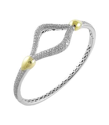 18k Yellow & White Gold Brilliant Cut Diamond Open Centre Bangle