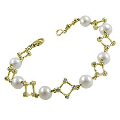 18k Yellow Gold 6.5-7mm Pearl & Brilliant Cut Diamond Bracelet