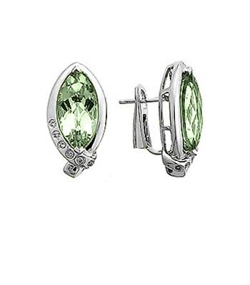 18k White Gold Green Amethyst & Brilliant Cut Diamond Cluster Hoop Earrings