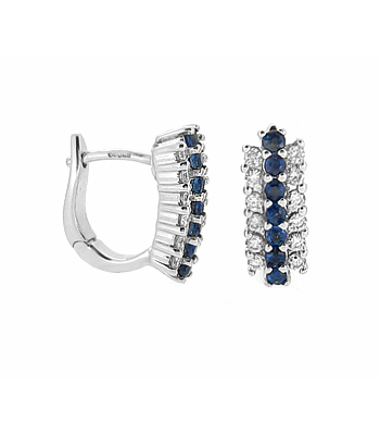 18k White Gold 3 Row Round Sapphire & Brilliant Cut Diamond Hoop Earrings