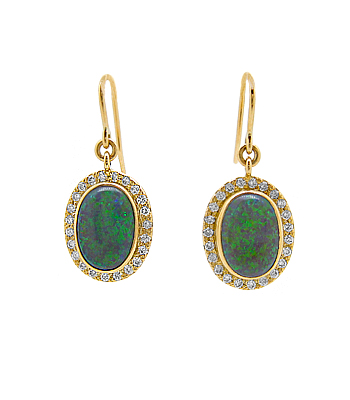 18k Yellow Gold Oval Opal & Brilliant Cut Diamond Cluster Hoop Earrings