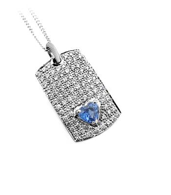 18k White Gold Heartshape Sapphire & Brilliant Cut Diamond Tag Pendant On Chain