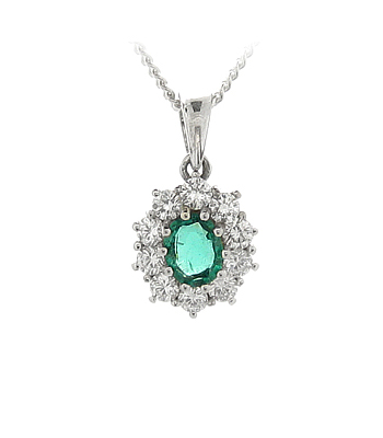 18k White Gold Oval Emerald & Brilliant Cut Diamond Cluster Pendant On Chain