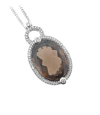18k White Gold Oval Smoky Quartz & Brilliant Cut Diamond Cluster Pendant On Chain