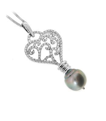 18k White Gold 10.5-12mm Pearl & Brilliant Cut Diamond Drop Pendant On Chain