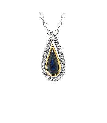 18k Yellow & White Gold Pearshape Sapphire & Brilliant Cut Diamond Cluster Pendant On Chain