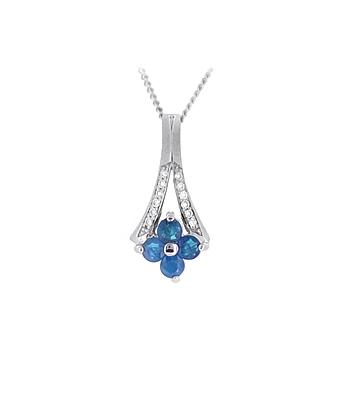 18k White Gold Round Sapphire & Brilliant Cut Diamond Drop Pendant On Chain