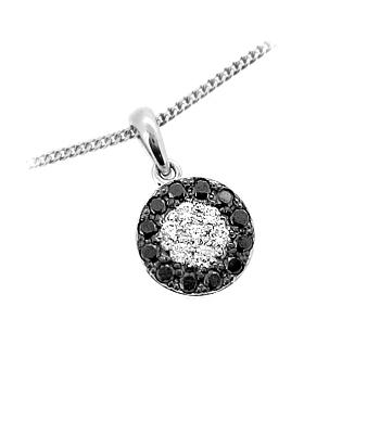 18k White Gold Black Diamond Cluster Pendant On Chain