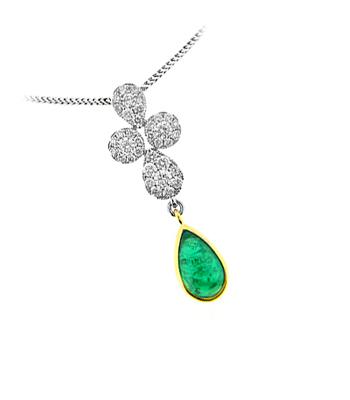 18k Yellow & White Gold Pearshape Cabochon Emerald & Brilliant Cut Diamond Cluster Drop Pendant On Chain
