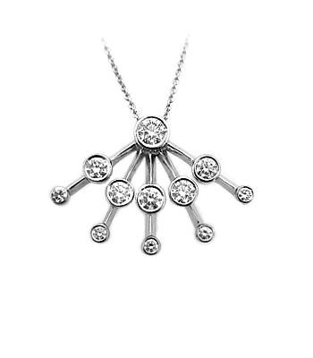 18k White Gold Diamond Fancy Pendant on Chain
