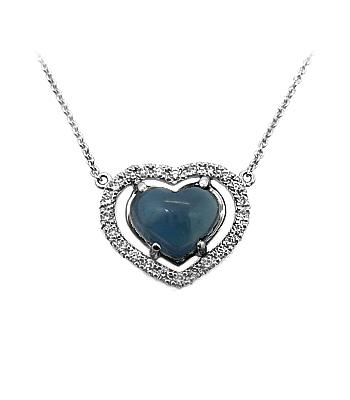 18k White Gold Cabochon Heartshape Sapphire & Brilliant Cut Diamond Cluster Necklace