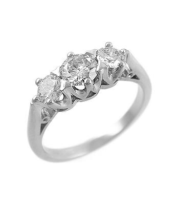 Platinum 3 Stone Brilliant Cut Diamond Graduated Ring