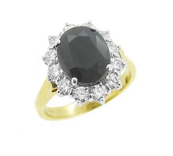 18k Yellow & White Gold Oval Dark Sapphire & Brilliant Cut Diamond Cluster Ring