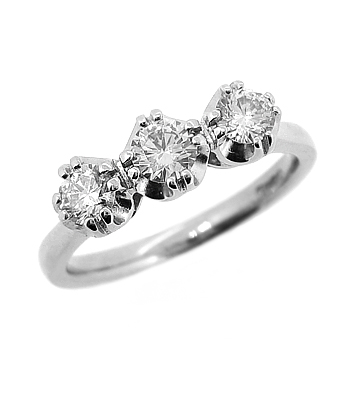 18k White Gold, 3 Stone, 0.20cts Diamond Ring