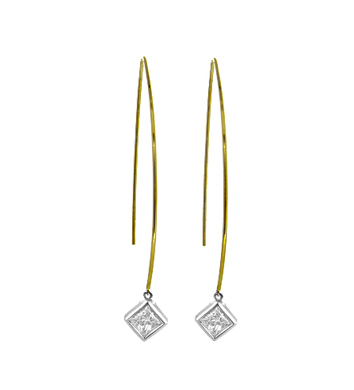 9k Yellow & White Princess Cut Diamond Hoop Earrings