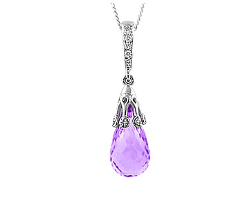 18k White Gold Amethyst & Brilliant Cut Diamond Drop Charm Pendant On Chain