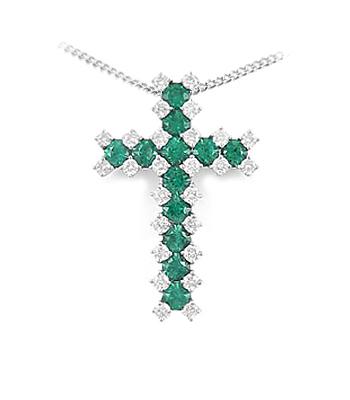 18k White Gold Round Emerald & Brilliant Cut Diamond Cross Pendant On Chain