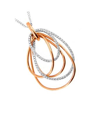 18k Red & White Gold Brilliant Cut Diamond Fancy Pendant On Chain