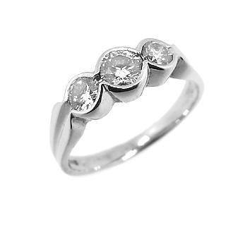 18k White Gold 3 Stone Brilliant Cut Diamond Rub over Set Ring