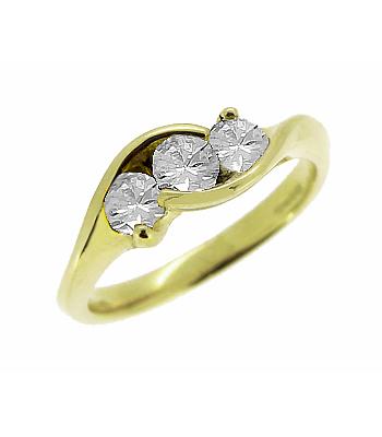 18k Yellow Gold 3 Stone Brilliant Cut Diamond Crossover Ring