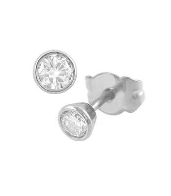 18k White Gold Brilliant Cut Diamond Bezel Set Stud Earrings