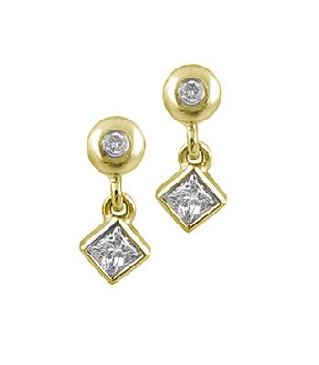 18k White Gold Princess Cut & Brilliant Cut Diamond Stud Drop Earrings