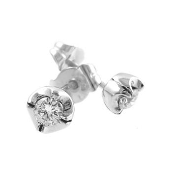 18k White Gold Brilliant Cut Diamond Claw Set Stud Earrings