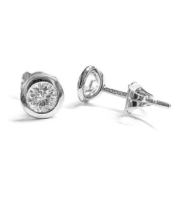 18k Yellow & White Gold Diamond Bezel Set Stud Earrings