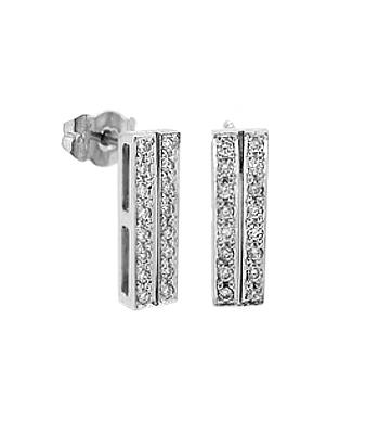18k White Gold Brilliant Cut Diamond Bar Stud Earrings