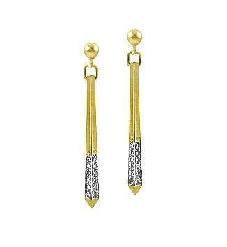 9k Yellow Gold Brilliant Cut Diamond Bar Drop Earrings