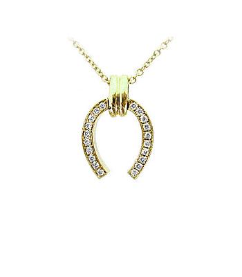 9k Yellow Gold Brilliant Cut Diamond Horseshoe Pendant On Chain