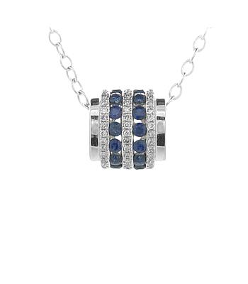 18k White Gold Round Sapphire & Brilliant Cut Diamond Barrel Pendant On Chain