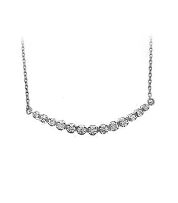 18k White Gold Brilliant Cut Diamond Crescent Necklace