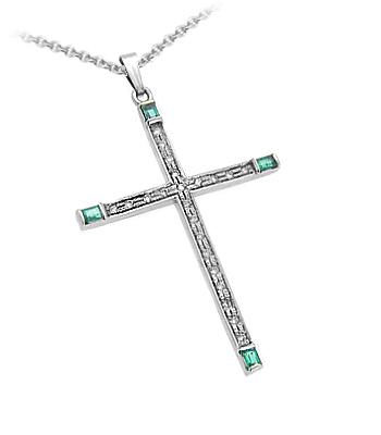10k White Gold Emerald & Diamond Cross Pendant On Chain
