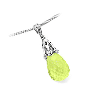 18k White Gold Lemon Quartz & Brilliant Cut Diamond Drop Pendant On Chain