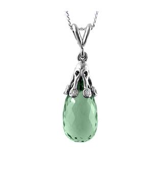 18k White Gold Green Amethyst & Brilliant Cut Diamond Drop Pendant On Chain