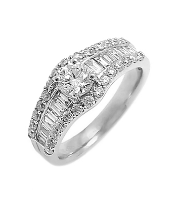 18k White Gold Brilliant Cut & Baguette Diamond Cluster Ring