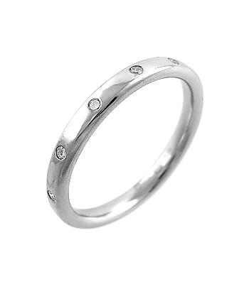 18k White Gold 5 Stone Brilliant Cut Diamond Wedding Ring