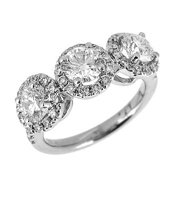 18k White Gold Brilliant Cut Diamond Treble Cluster Ring